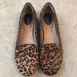 Clark's calf hair leopard indigo loafers